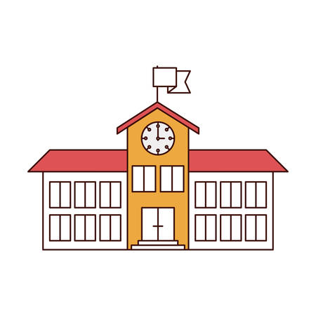silhouette color sections of high school structure with clock and flag vector illustration Illustration