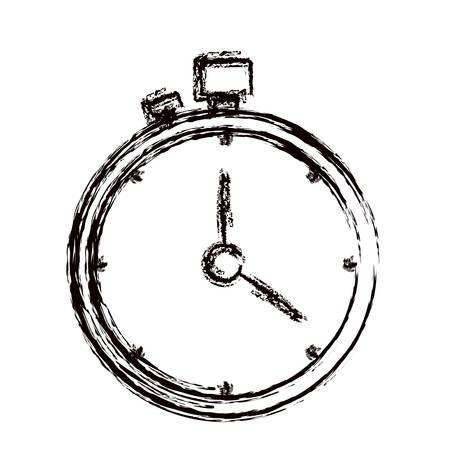 blurred thick contour stopwatch with timer vector illustration Illustration