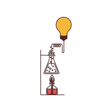 silhouette color sections of glass beaker connected to light bulb and lighter vector illustration Illustration