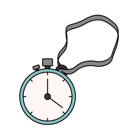 color sketch silhouette stopwatch with timer and cord vector illustration Illustration