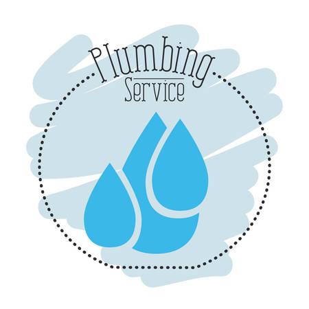 plumb: sticker scene of set drop water plumbing service vector illustration