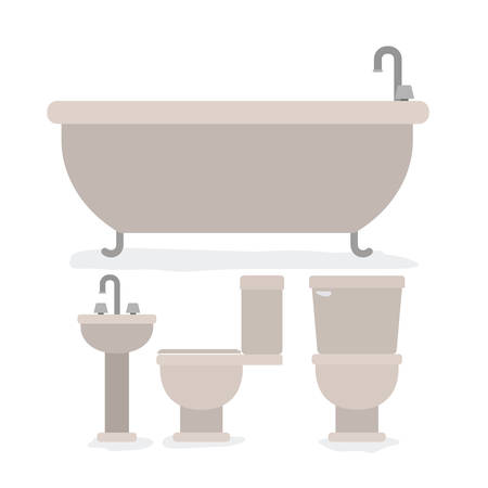 colorful set of bathroom interior objects vector illustration Illustration