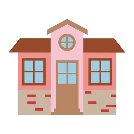 light color silhouette of facade house of two floors with attic vector illustration