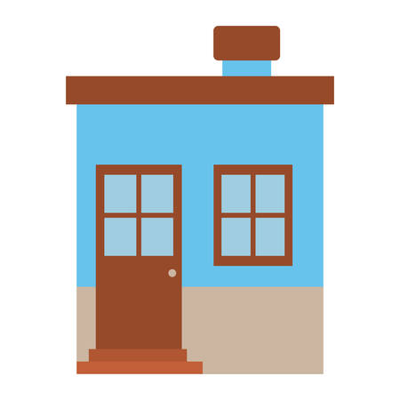 apartment suite: light color silhouette of small house with chimney vector illustration