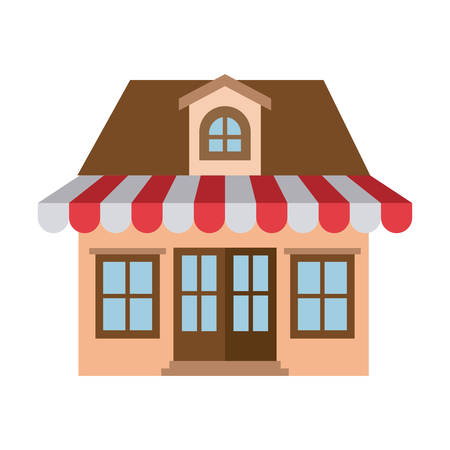 portone: light color silhouette of store with awning and attic vector illustration Vettoriali