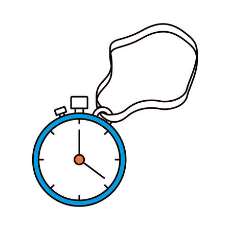 silhouette color sections of stopwatch with timer and cord vector illustration