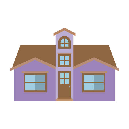 attic: light color silhouette of facade house with attic vector illustration