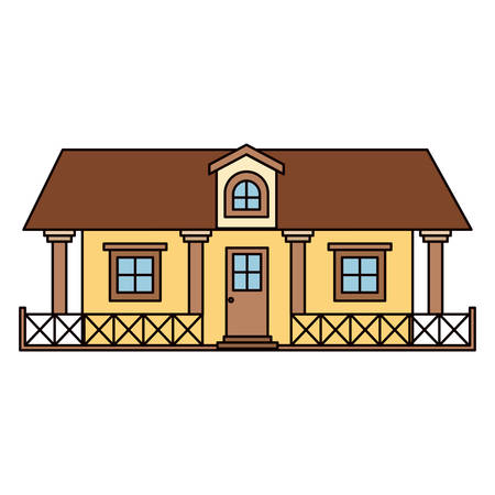 white background with colorful country house with railing and attic vector illustration