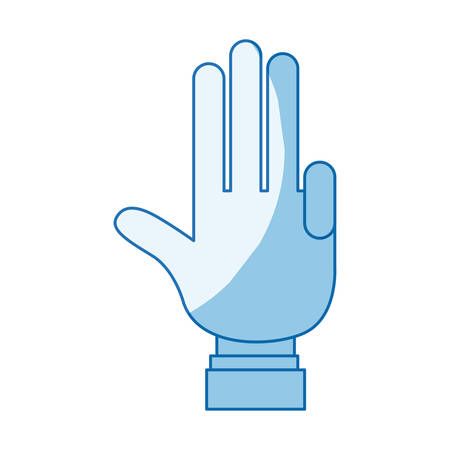 blue color shading silhouette hand palm showing four fingers with shirt sleeve vector illustration