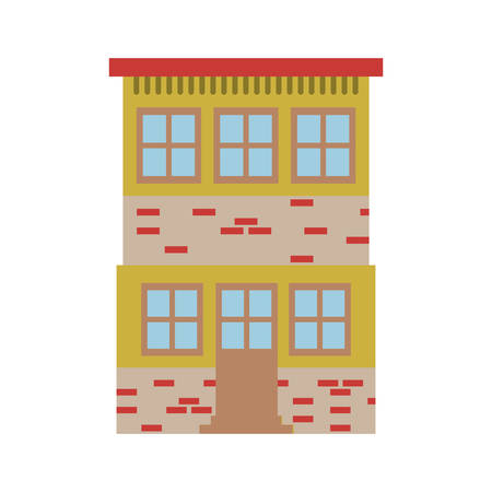 light color silhouette of house of two floors vector illustration
