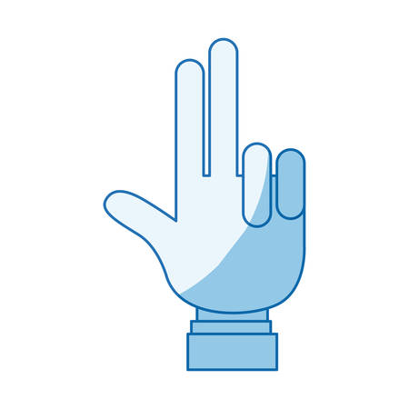 hi five: blue color shading silhouette hand palm showing two fingers with shirt sleeve vector illustration