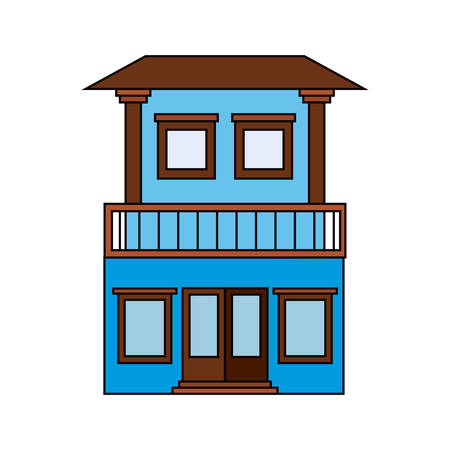 colorful silhouette of facade house with two floors and balcony vector illustration