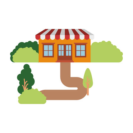 white background with natural landscape and store with awning vector illustration Illustration