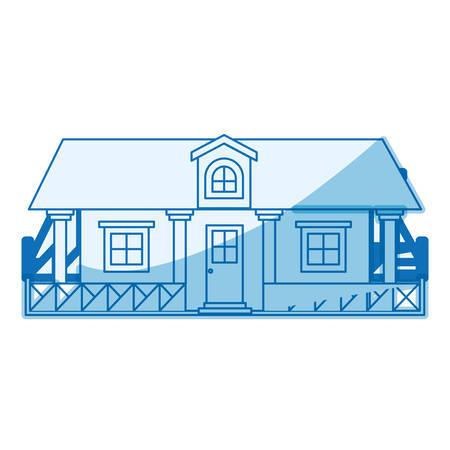 attic: blue shading silhouette of country house with railing and attic vector illustration Illustration