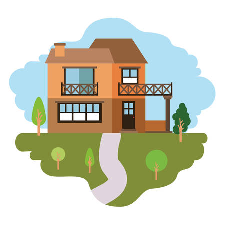 white background with colorful scene of natural landscape and country house of two floors and balcony vector illustration