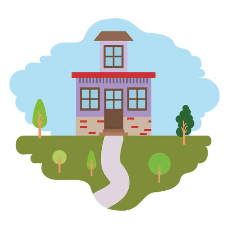 rural road: white background with colorful scene of natural landscape and house with small attic vector illustration