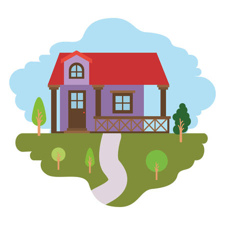 white background with colorful scene of natural landscape and facade house with railing and attic vector illustration