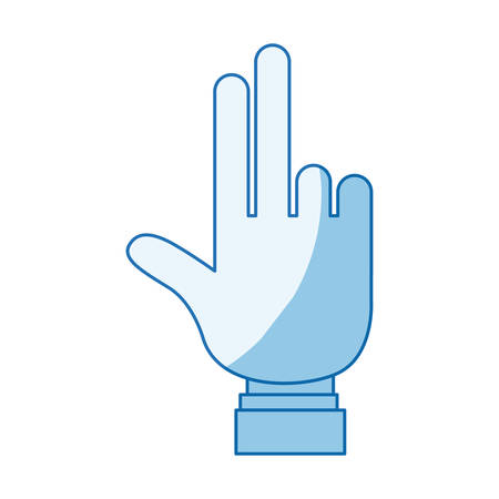 hi five: blue color shading silhouette hand showing two fingers with shirt sleeve vector illustration