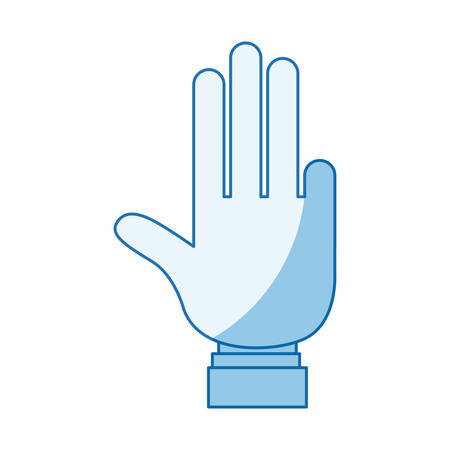 hi five: blue color shading silhouette hand showing four fingers with shirt sleeve vector illustration