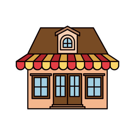 colorful silhouette of facade store with awning and attic vector illustration