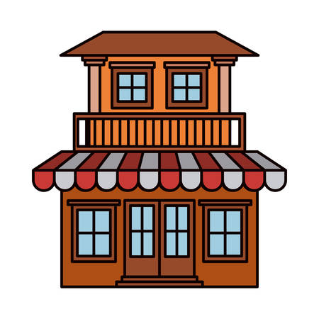 colorful silhouette of house with two floors with balcony and awning vector illustration