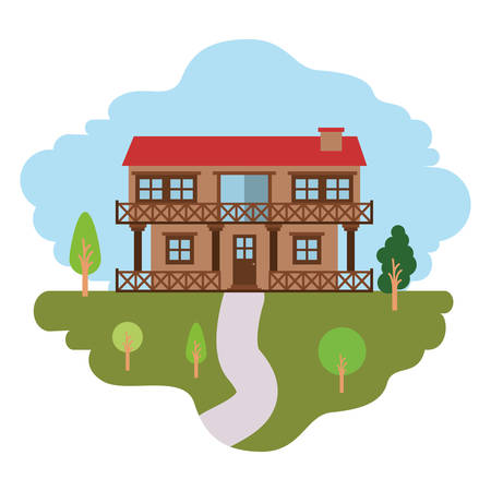 white background with colorful scene of natural landscape and country house of two floors with railing vector illustration Illustration