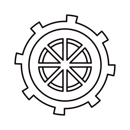 esquisse silhouette roue dentée en forme illustration vectorielle bateau barre