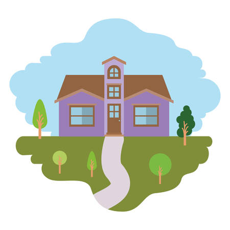 rural road: white background with colorful scene of natural landscape and facade house with attic vector illustration