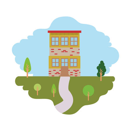 rural road: white background with colorful scene of natural landscape and house of two floors vector illustration