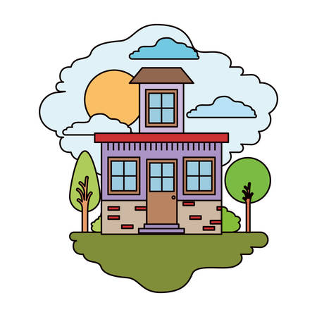 white background with colorful scene of natural landscape and house with small attic in sunny day vector illustration