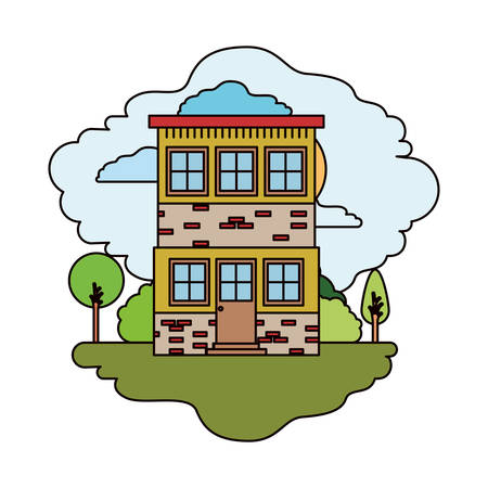 white background with colorful scene of natural landscape and house of two floors in sunny day vector illustration