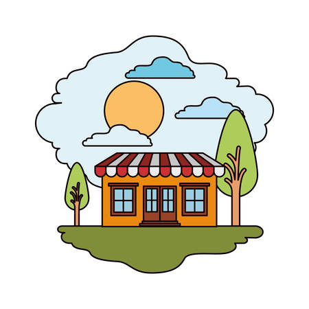 white background with colorful scene of natural landscape and store with awning in sunny day vector illustration