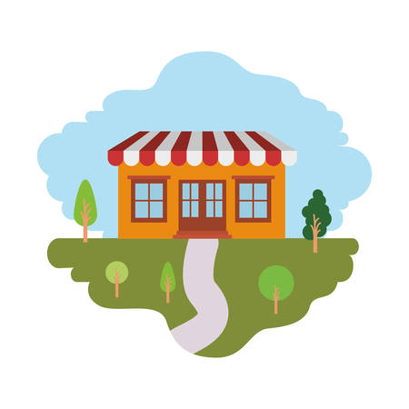 white background with colorful scene of natural landscape and store with awning vector illustration Illustration