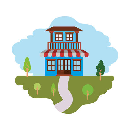 white background with colorful scene of natural landscape and house with two floors with balcony and awning vector illustration Illustration