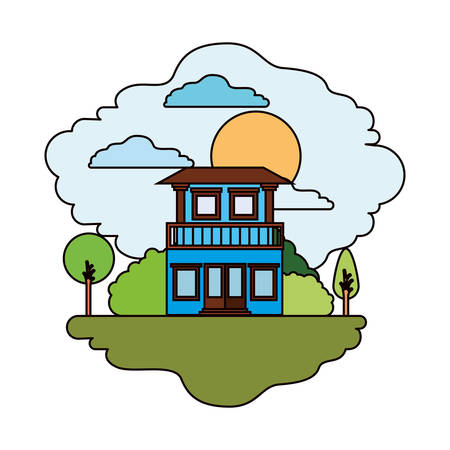 rural road: white background with colorful scene of natural landscape and house with two floors and balcony in sunny day vector illustration
