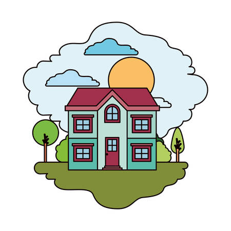 white background with colorful scene of natural landscape and facade house of two floors in sunny day vector illustration