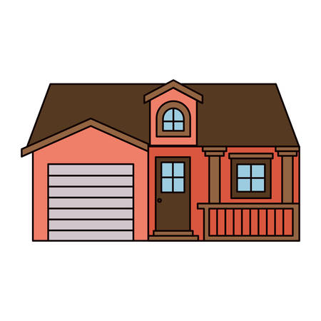 apartment suite: white background with colorful facade house with garage and attic vector illustration