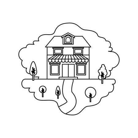 rural road: monochrome silhouette scene of natural landscape and house with two floors with attic and awning vector illustration Illustration
