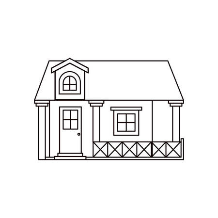 attic: monochrome silhouette facade house with railing and attic vector illustration