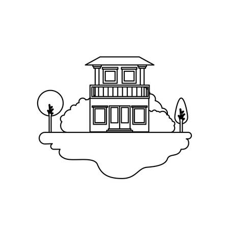 rural road: monochrome silhouette scene of outdoor landscape and house with two floors and balcony vector illustration