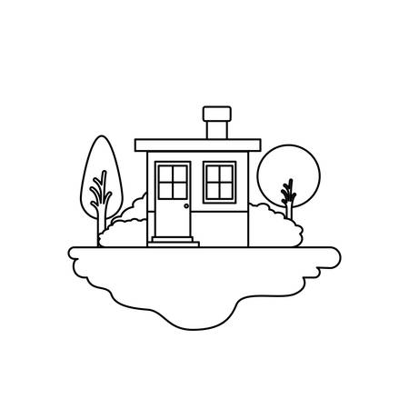rural road: monochrome silhouette scene of outdoor landscape and small house with chimney vector illustration