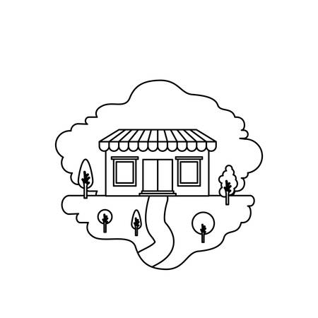 monochrome silhouette scene of natural landscape and store with awning vector illustration