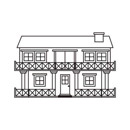 apartment suite: monochrome silhouette facade house of two floors with balcony and chimney vector illustration