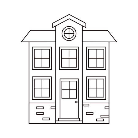 attic: monochrome silhouette facade house of two floors with attic vector illustration Illustration