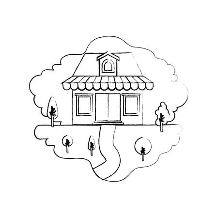 monochrome blurred silhouette scene of natural landscape and store with awning and attic vector illustration