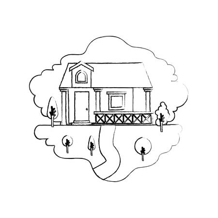 rural road: monochrome blurred silhouette scene of natural landscape and facade house with railing and attic vector illustration