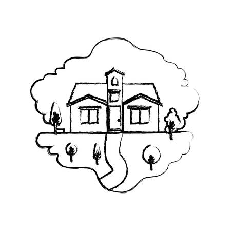 rural road: monochrome blurred silhouette scene of natural landscape and facade house with attic vector illustration