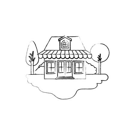 monochrome blurred silhouette scene of outdoor landscape and store with awning and attic vector illustration Illustration