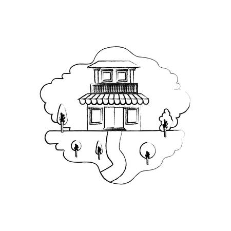 monochrome blurred silhouette scene of natural landscape and house with two floors with balcony and awning vector illustration Illustration