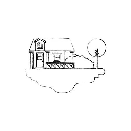 rural road: monochrome blurred silhouette scene of outdoor landscape and facade house with railing and attic vector illustration Illustration
